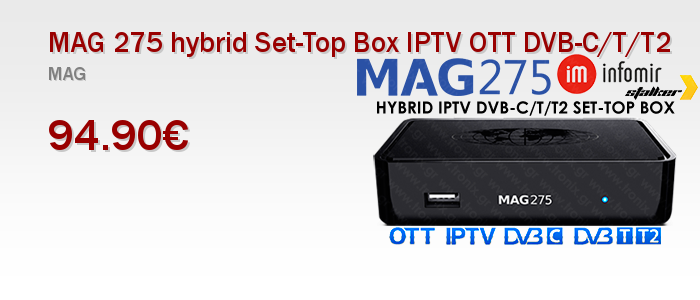 MAG275 hybrid Set-Top Box IPTV OTT DVB-C/T/T2