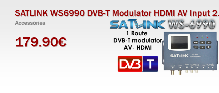 "SATLINK WS6990 DVB-T Modulator HDMI AV Input 2.4"" LCD Screen"